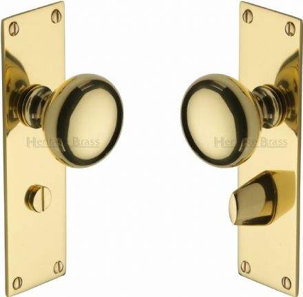 M Marcus Heritage Brass BAL8530PB Balmoral Mortice Knob On Bathroom Backplate Polished Brass